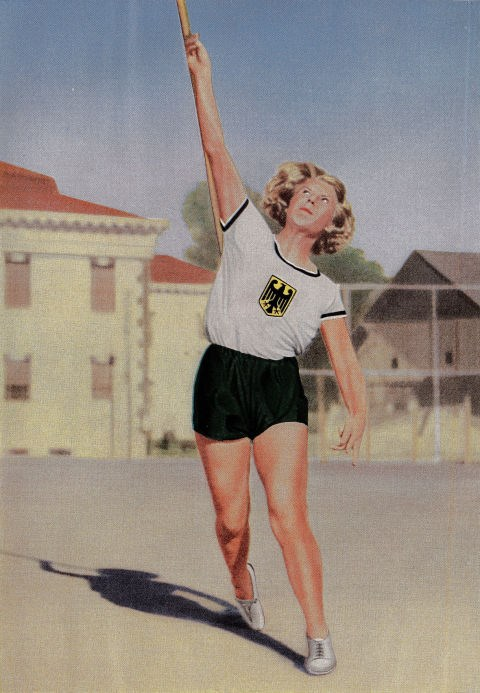 <p> <strong>1932</strong><p> <p> German javelin-thrower Ellen Braumueller mid-throw at the games in L.A.