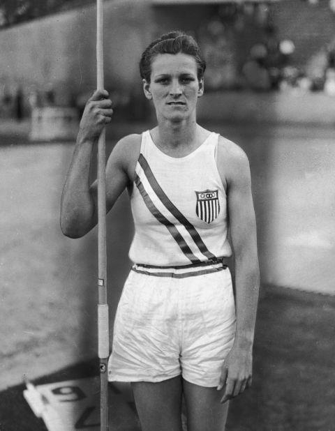 <p> <strong>1932</strong><p> <p> American athlete Babe Zaharias holding a javelin and wearing her Olympic uniform.
