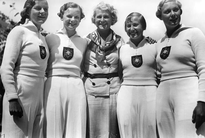 <p> <strong>1936</strong><p> <p> German women competing in the 4 x 100 meter dash race at the Berlin Olympics.