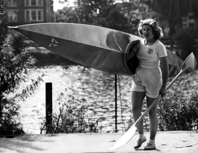 <p> <strong>1949</strong><p> <p> British Olympic canoeist Joyce Web taking her canoe out to train on the Thames River at Richmond. She's seen as one of Britain's best hopes for winning the kayak racing events at the 1952 Olympic games in Helsinki.