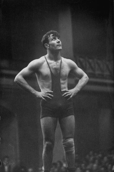 <p> <strong>1956</strong><p> <p> Wrestler V. Maneev of Russia at the games in Melbourne, Australia.