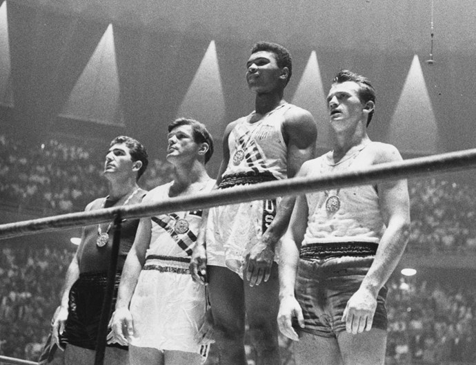 <p> <strong>1960</strong><p> <p> The medal winners for light heavyweight boxing competition in Rome, including Cassius Clay front-and-center (now known as Muhammad Ali).