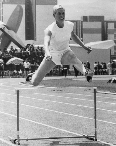<p> <strong>1968</strong><p> <p> British athlete Pat Bryce-Nutting jumping over a hurdle during training at the track in Mexico. Given the heat in Mexico, short-shorts are a popular choice for athletes, and elastene spandex continues to revolutionize sportswear.