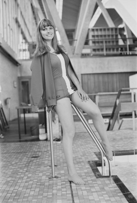 <p> <strong>1968</strong><p> <p> Model Margaret Middleton wearing a swimsuit designed by Hardy Amies for the British swimmers at the games in Mexico City.