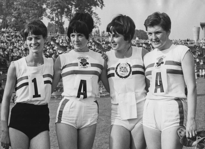 <p> <strong>1968</strong><p> <p> The British women's relay team during training for the Olympic games in Mexico.