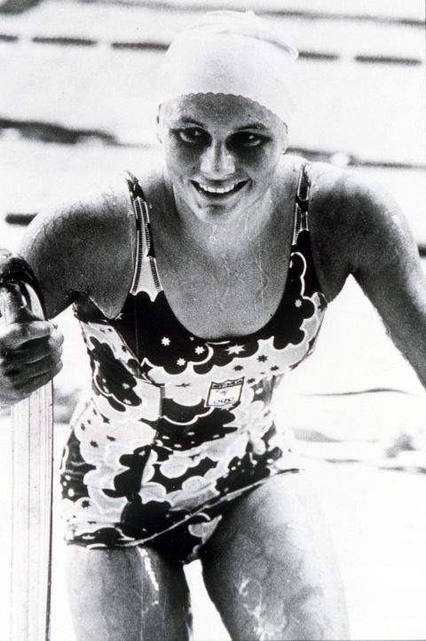 <p> <strong>1972</strong><p> <p> Australian Bronze medalist Shane Gould after setting a new world record in the 100 meter freestyle race.