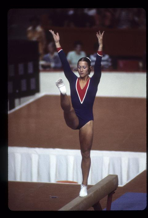<p> <strong>1976</strong><p> <p> American gymnast Debra Wilcox on the balance beam at the games in Montreal.