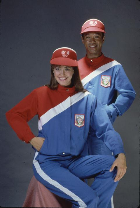 <p> <strong>1980</strong><p> <p> The outfit designed by jean maker Levi Strauss to be worn during the opening ceremonies for the Los Angeles 1984 Olympics. Shiny stretch fabrics and high-waisted shorts for men become a trend in the '80s.