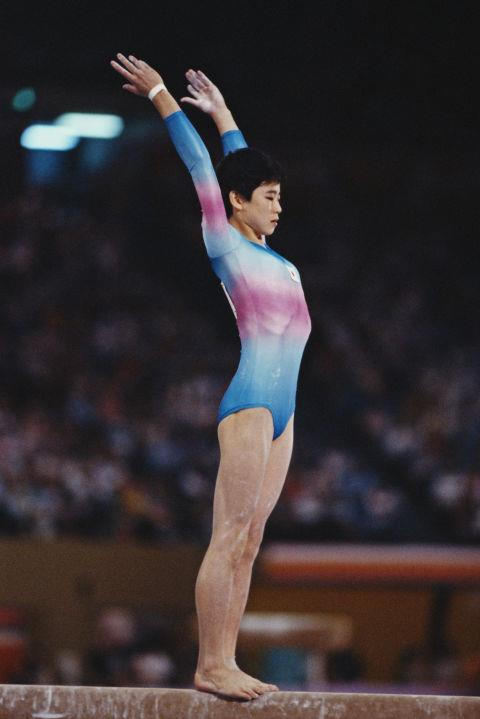 <p> <strong>1984</strong><p> <p> Noriko Mochizuki of Japan on the women's balance beam at the games in Los Angeles.