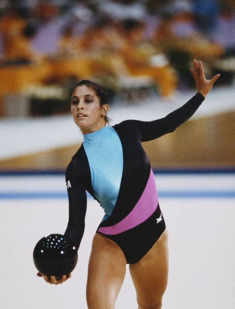 <p> <strong>1984</strong><p> <p> U.S. gymnast Valerie Zimring performs in the rhythmic gymnastics competition.