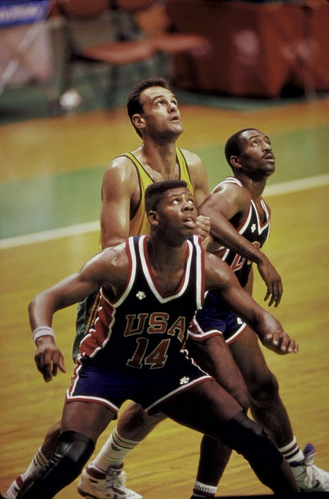 <p> <strong>1988</strong><p> <p> U.S. vs. Brazil basketball game in Seoul, South Korea.