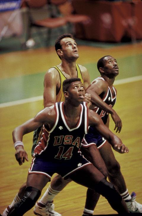 <p> <strong>1988</strong><p> <p> U.S. vs. Brazil basketball game in Seoul, South Korea.
