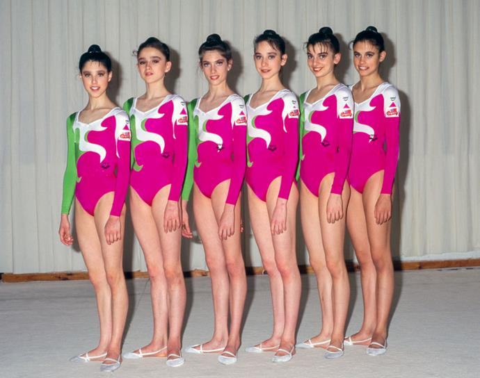 <p> <strong>1996</strong><p> <p> The Spanish rhythmic gymnastics team in the games at Mexico City.