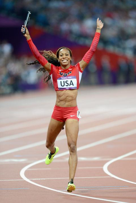 """<p> <strong>2012</strong><p> <p> American sprinter Sonya Richards-Ross celebrating a win at the 4x400 meter relay final in London. Companies are still promoting the latest in aerodynamic technology, while designers are pushing to collaborate with sportswear brands on fashionable and practical gear. The London Games stoke a reputation for being """"The Fashion Games""""."""