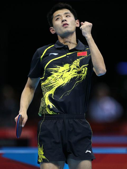 <p> <strong>2012</strong><p> <p> Zhang Jike of China celebrates a win in the table tennis fourth round match in London.