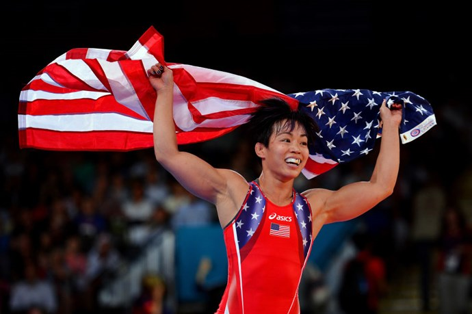 <p> <strong>2012</strong><p> <p> U.S. wrestler Clarissa Kyoko Mei Ling celebrates her bronze medal for women's freestyle wrestling at the London Olympics.