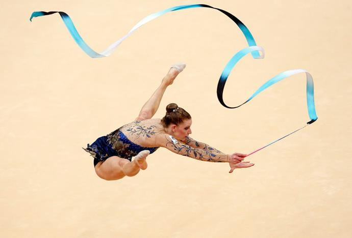 <p> <strong>2012</strong><p> <p> Janine Murray of Australia performing during the rhythmic gymnastics competition at the London Olympics.