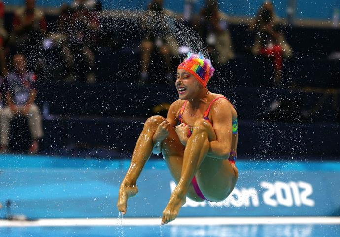 <p> <strong>2012</strong><p> <p> A Canadian swimmer competing in the synchronized swimming competition final in London.