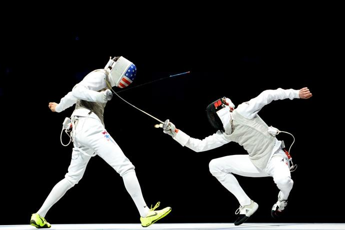 <p> <strong>2012</strong><p> <p> Alexander Massialias of the United States vs. Sebastian Bachmann of Germany in fencing.