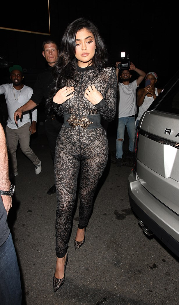 Kylie wore this pretty much see-through Balmain jumpsuit for the occasion.