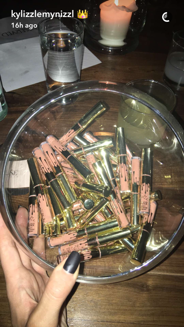 Kylie decorated her venue with bowls and bowls of her liquid Lip Kits, so if you're a customer that hasn't been able to get your hands on one... look away now.