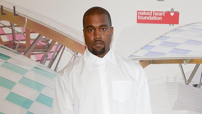 Kanye West in White Shirt at Paris Fashion Week