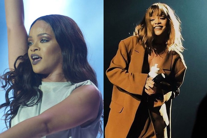 <p> <strong>Rhianna</strong></p> <p>Rihanna cropped and lightened her hair into a full, long bob this week, finishing off the look with a blunt fringe.</p>
