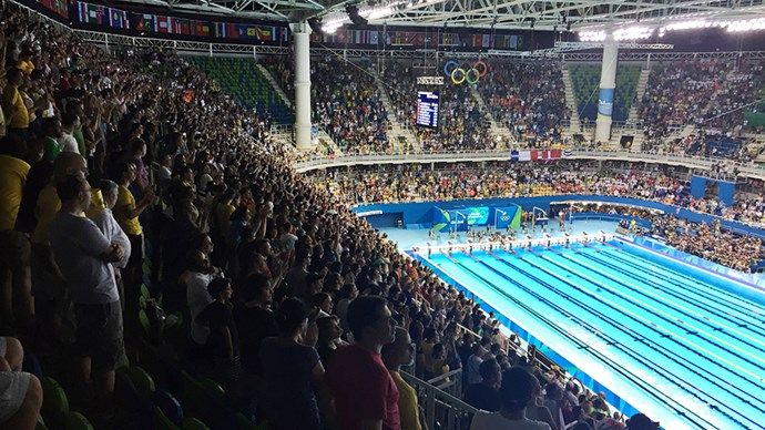 The energy in the pool stadium is one of the best of the Games. It probably doesn't hurt that Australia has a high chance of a medal haul here too.