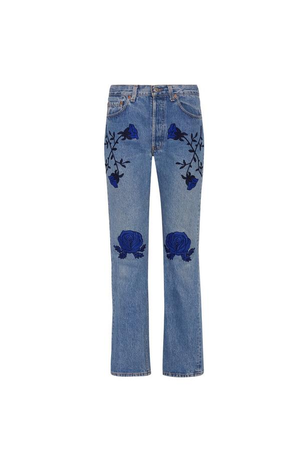 """Jeans, $703, <a href=""""https://www.net-a-porter.com/au/en/product/762287/bliss_and_mischief/conjure-embroidered-mid-rise-straight-leg-jeans"""">Bliss and Mischief at net-a-porter.com</a>."""