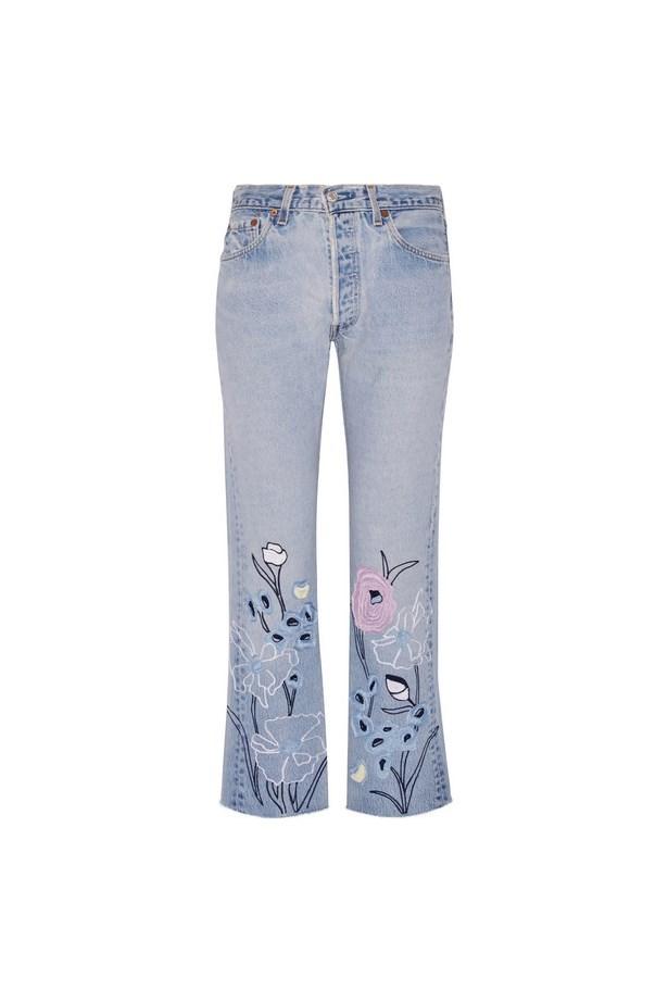 "Jeans, $703, <a href=""https://www.net-a-porter.com/au/en/product/762286/bliss_and_mischief/wild-flower-embroidered-high-rise-straight-leg-jeans"">Bliss and Mischief at net-a-porter.com</a>."
