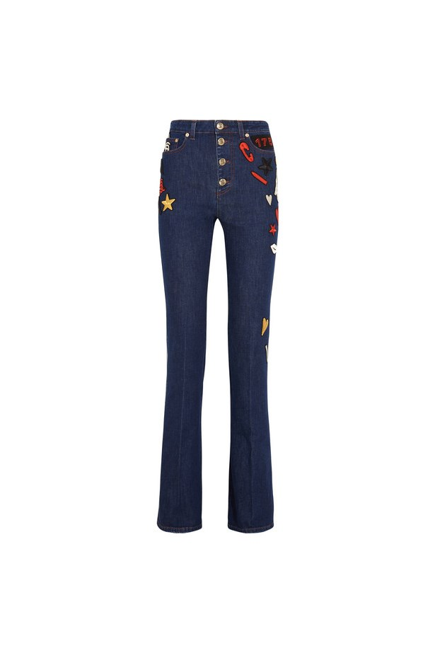 "Jeans, $1,421, <a href=""https://www.net-a-porter.com/au/en/product/733250/sonia_rykiel/embroidered-high-rise-flared-jeans"">Sonia Rykiel at net-a-porter.com</a>."