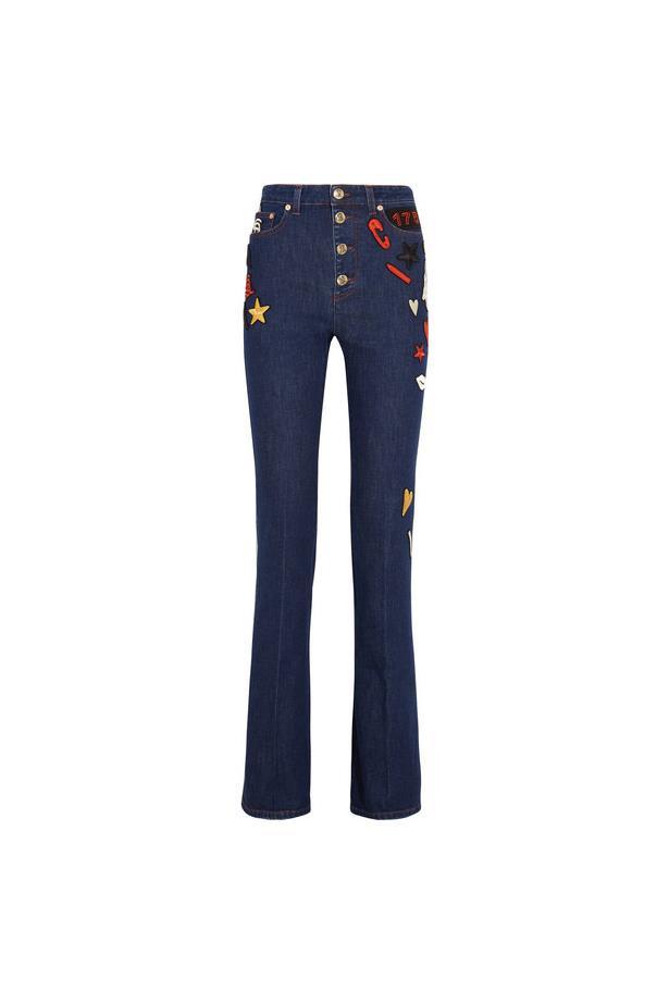 "Jeans, $1,421, <a href=""https://www.net-a-porter.com/au/en/product/733250/sonia_rykiel/embroidered-high-rise-flared-jeans"">Sonia Rykiel at net-a-porter.com</a>."