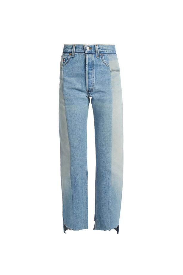 """Jeans, $1,421, <a href=""""http://www.matchesfashion.com/au/products/Vetements-Reworked-high-rise-straight-leg-jeans-1065801"""">Vetements at matchesfashion.com</a>."""