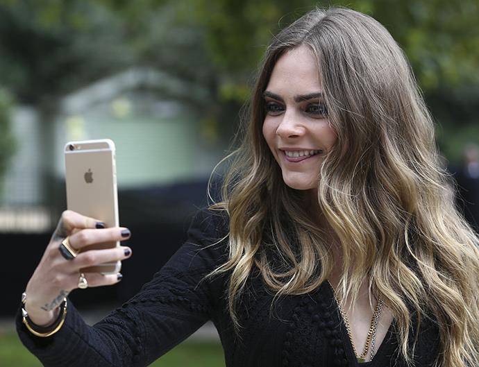 Cara Delevingne Selfie With iPhone