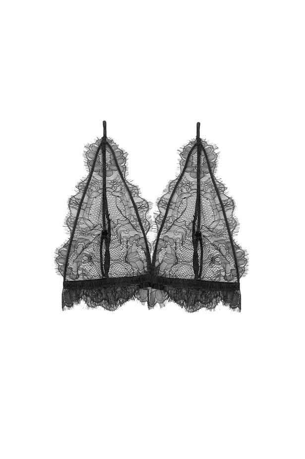 """Lace bralette, $129, <a href=""""https://www.aninebing.com/collections/lingerie/products/thin-lace-bra-in-black"""">Anine Bing</a>."""