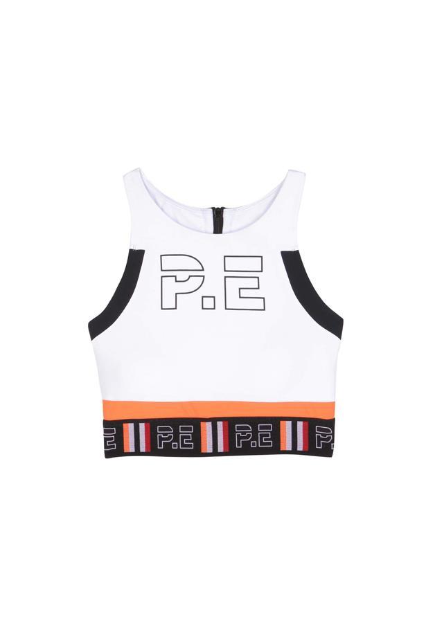 "Sports bra, $114, <a href=""http://www.mytheresa.com/en-de/the-tyson-crop-printed-sports-bra-590061.html"">P.E Nation at mytheresa.com</a>."