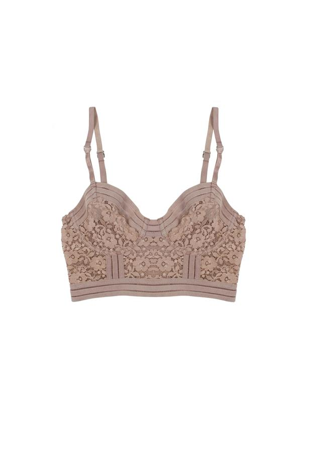 """Bra, $51.47,  <a href=""""https://lonelylabel.com/products/agnes-longline-bra-taupe?taxon_id=40"""">Lonely Lingerie</a>."""