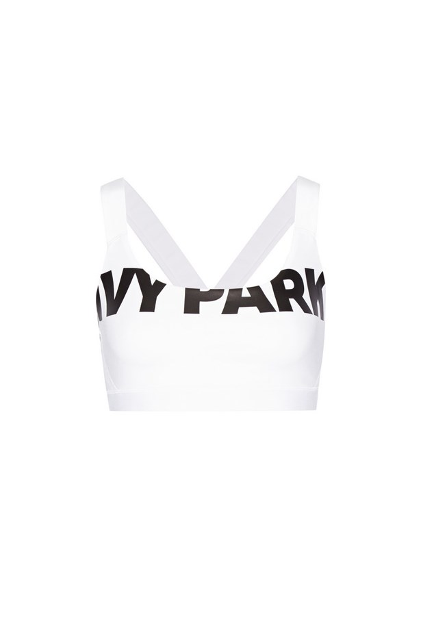 "Sports bra, $45, <a href=""https://www.net-a-porter.com/au/en/product/716481/ivy_park/printed-stretch-jersey-and-mesh-sports-bra"">Ivy Park at net-a-porter.com</a>."
