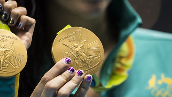 <strong>Women's 4 x 100m relay team, swimming, Australia </strong><br> The perfect accessory for graphic metallic tips? A gold medal, of course.