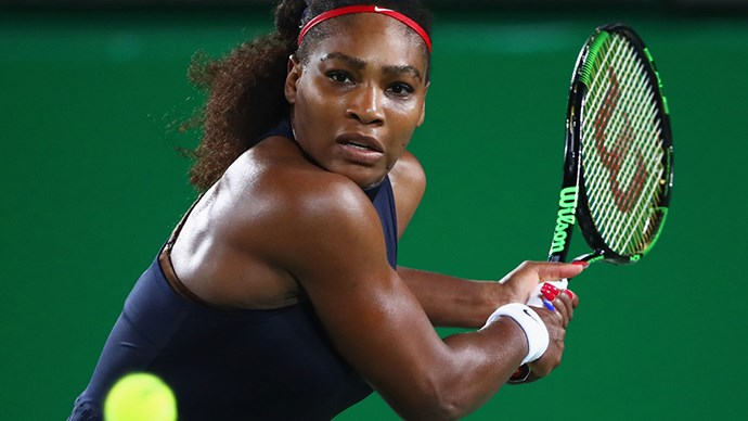 <strong>Serena Williams, tennis, USA</strong><br> Williams is patriotic and fierce on the court in red, white and blue.