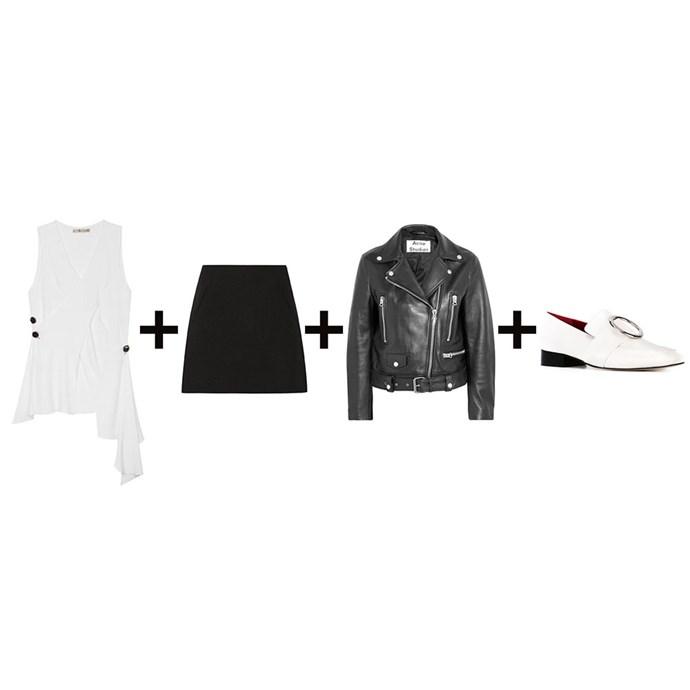 "<strong>Emma Kalfus, fashion editor</strong><br> <em>Top + A-line skirt + Leather jacket + Loafers</em><br><br><a href=""https://www.mychameleon.com.au/alina-long-wrap-blouse-p-4424.html?newstuff=newstuff&typemf=women"">Top, $340.20, Altewai Saome at mychameleon.com.au</a>; <a href=""https://www.theoutnet.com/en-AU/product/Marni/Wool-crepe-mini-skirt/589962"">Skirt, $205, Marni at theoutnet.com</a>; <a href=""https://www.net-a-porter.com/au/en/product/730768"">Jacket, $2200, Acne Studios at net-a-porter.com</a>; <a href=""http://www.farfetch.com/au/shopping/women/Dorateymur-Harput-loafers-item-11396800.aspx"">Loafers, $497, Dorateymur at farfetch.com</a>"