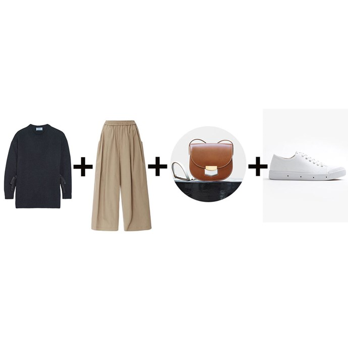"""<strong>Genevra Leek, associate editor</strong><br> <em>Navy sweater + Culottes + Crossbody bag + White sneakers</em><br><br> <a href=""""https://www.net-a-porter.com/au/en/product/743647/Prada/bow-embellished-wool-and-cashmere-blend-sweater"""">Sweater, $970, Prada at net-a-porter.com</a>; <a href=""""https://www.modaoperandi.com/tome-pf16/sateen-karate-cullottes"""">Culottes, $780, Tome at modaoperandi.com</a>; <a href=""""https://www.celine.com/en/collections/fall/leather-goods/small-trotteur-bag-calfskin-and-lambskin-lining/176643AGR.18CH"""">Bag, $2034, Celine</a>; <a href=""""http://www.superette.co.nz/g2-womens-canvas-white-low.html"""">Sneakers, $149, Spring Court at superette.co.nz</a>"""