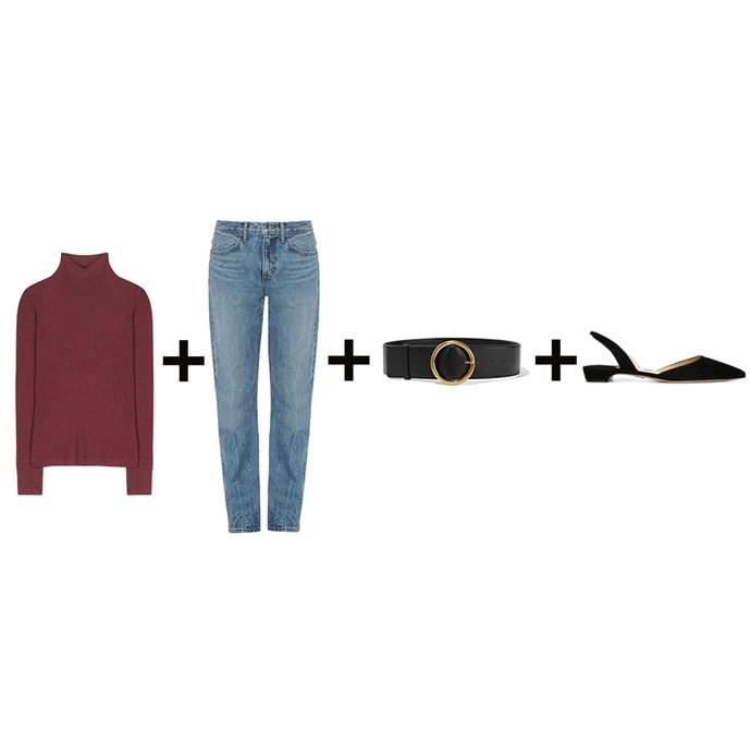 """<strong>Elle McClure, digital producer</strong><br> <em>Turtleneck + Vintage jeans + Belt + Slingback flats</em><br><br> <a href=""""http://www.mytheresa.com/en-au/wool-turtleneck-495523.html"""">Turtleneck, $159, T By Alexander Wang at mytheresa.com</a>; <a href=""""http://www.matchesfashion.com/au/products/1056040"""">Jeans, $389, Helmut Lang at matchesfashion.com</a>; <a href=""""https://www.net-a-porter.com/au/en/product/714353/stella_mccartney/faux-leather-waist-belt"""">Belt, $495, Stella McCartney at net-a-porter.com</a>; <a href=""""http://www.farfetch.com/au/shopping/women/Paul-Andrew-Rhea-slingback-ballerinas-item-11060885.aspx"""">Flats, $670, Paul Andrew at farfetch.com</a>"""