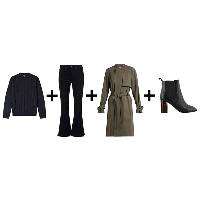 """<strong>Laura Collins, features and culture editor</strong><br> <em>Men's sweater + Kick-flare jeans + Khaki trench + Heeled boots</em><br><br> <a href=""""http://www.endclothing.com/us/a-p-c-night-crew-knit-cobhc-h23489-iak.html"""">Knit, $273, A.P.C at endclothing.com</a>; <a href=""""https://www.intermixonline.com/product/rag+-+bone-jean+crop+flare+black+coal.do"""">Jeans, $256, Rag & Bone at intermixonline.com</a>; <a href=""""http://www.matchesfashion.com/au/products/1055016"""">Trench, $926, A.L.C at matchesfashion.com</a>; <a href=""""http://www.tonybianco.com.au/ola-black-luxe-tort.html#"""">Boots, $200, Tony Bianco </a>"""