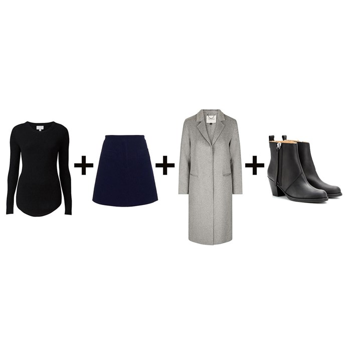 """<strong>Amber Elias, editorial coordinator</strong><br> <em>Sweater + Navy skirt + Grey coat + Boots</em><br><br> <a href=""""https://www.witchery.com.au/shop/woman/clothing/knitwear/60189956/Slim-Rib-Sweater.html"""">Sweater, $99.95, Witchery</a>; <a href=""""http://www.matchesfashion.com/au/products/1027317"""">Skirt, $252, Carven at matchesfashion.com</a>; <a href=""""http://www.topshop.com/en/tsuk/product/clothing-427/jackets-coats-2390889/wool-butted-seam-coat-5794170?bi=0&ps=20"""">Coat, approx. $134, Topshop</a>; <a href=""""http://www.mytheresa.com/en-au/pistol-short-leather-ankle-boots-621118.html"""">Boots, $620, Acne Studios at mytheresa.com</a>"""
