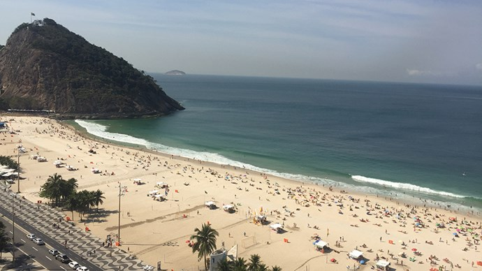 On a sunny day, even in the middle of winter, it's 33 degrees on Copacabana and the sand is filled with swimmers (despite the current warnings about a bug in the water).