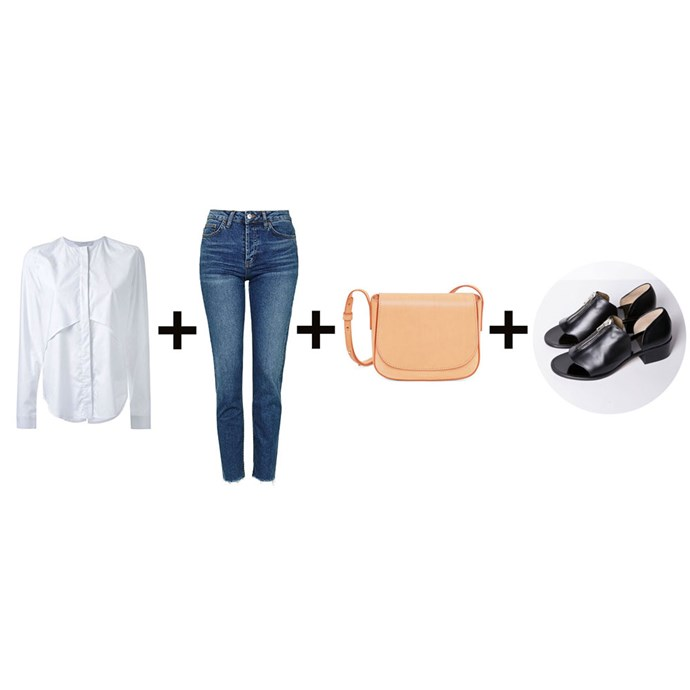 "<strong>Samantha Wong, fashion office coordinator</strong><br> <em>Crisp shirt + Raw-hem jeans + Bag + Statement flats</em><br><br> <a href=""http://www.farfetch.com/au/shopping/women/Dion-Lee-Mobius-shirt-item-11471248.aspx"">Shirt, $390, Dion Lee at farfetch.com</a>;<a href=""http://www.topshop.com/en/tsuk/product/moto-raw-hem-straight-leg-jeans-5720445""> Jeans, $71, Topshop</a>; <a href=""https://www.mychameleon.com.au/mini-crossbody-bag-cammello-p-3850.html?typemf=women"">Bag, $615, Mansur Gavriel at mychameleon.com.au</a>; <a href=""http://www.loq.us/products/ss16-nicolau?variant=15279178694"">Shoes, $176, Loq</a>"