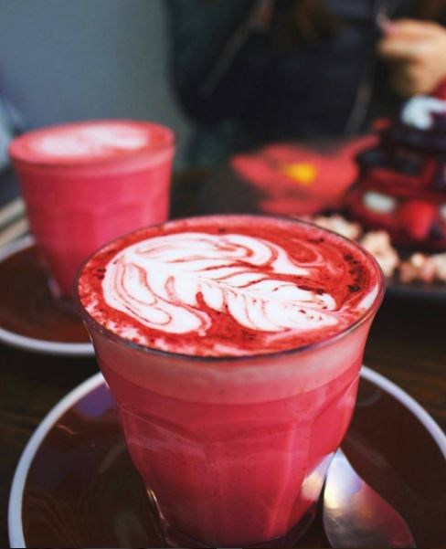 "<p><b>What:</b> Red velvet latte <p><b>Where:</b> The Local Mbassy in Sydney <p><b>Details:</b> This red hot drink ""almost tastes like a warm marshmallowy cupcake in liquid form,"" according to the café. If you're mad about red velvet, they also serve red velvet pancakes. <p><a href=""https://www.instagram.com/p/BG876x-iqZ1/?taken-by=localmbassy"" target=""_blank"">Instagram.com/localmbassy</a>"