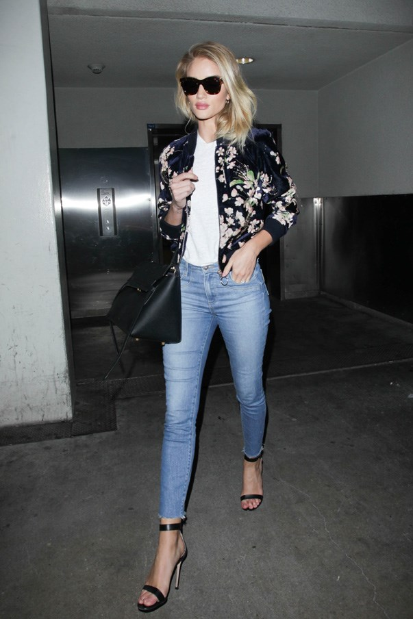 When it comes to in-transit style, Rosie Huntington-Whiteley knows the power of a statement jacket.