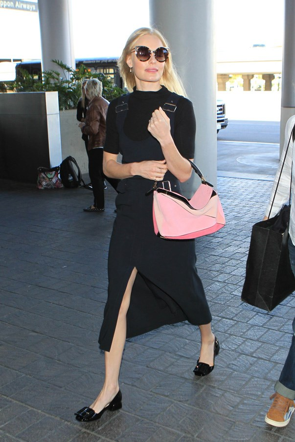 It's all about flats and a pop of pink for Kate Bosworth.